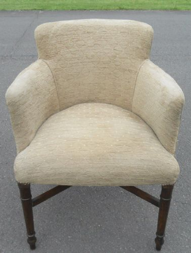 Antique Style Upholstered Salon Tub Armchair